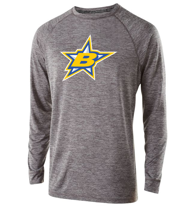 Butler Stars Graphite Heather Electrify 2.0 Long Sleeve Shirt w/ Large Front Star Burst Design