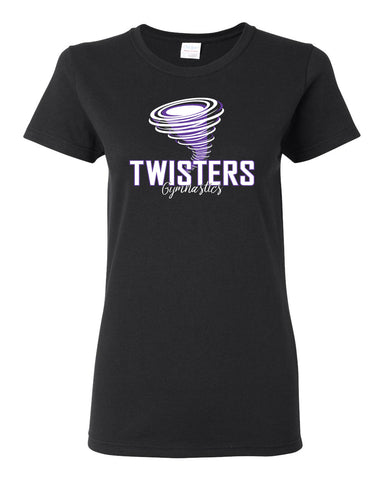 Twisters Gymnastics Black 100% Cotton Long Sleeve Tee w/ Twisters Circle 2 Color Design