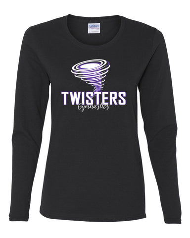 Twisters Gymnastics Black Sports Bra w/ 2 Color Spangle Logo on Front.