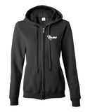 Twisters Gymnastics Black Full Zip Hoodie w/ F5 Twister Design on Back.