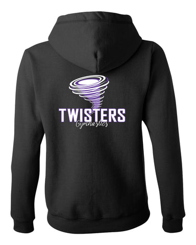 Twisters Gymnastics Black 100% Cotton Tee w/ Twisters 2 Color Spangle Design