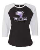 Twisters Gymnastics LAT - Women's Baseball Fine Jersey Three-Quarter Sleeve Tee - 3530 w/ F5 Twister Design