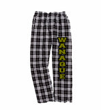 WANAQUE PJ Style Flannel Pants w/ WANAQUE Logo in Black & Gold Down Leg.