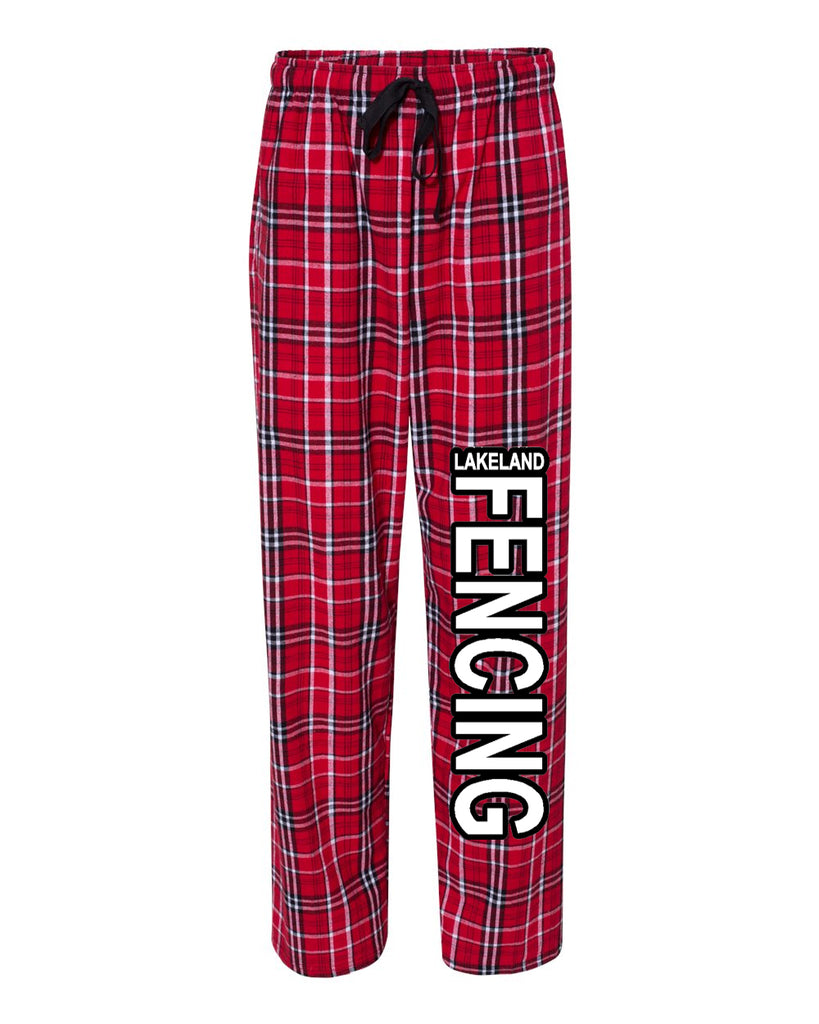Lakeland Fencing PJ Flannel Pants w/ Black & White Design Down Left Leg