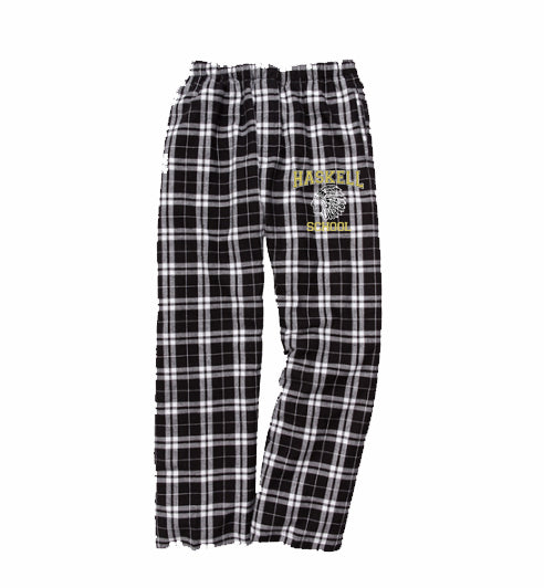 "HASKELL School PJ Style Flannel Pants w/ HASKELL ""Indian"" Logo on Front Hip."