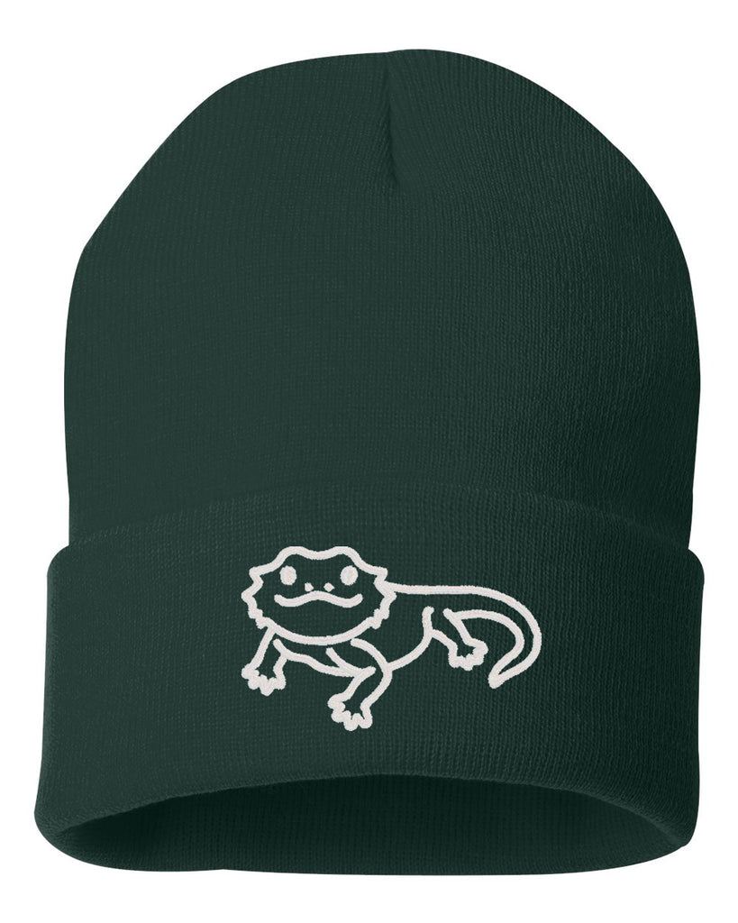 Cute Bearded Dragon Embroidered Cuffed Beanie Hat