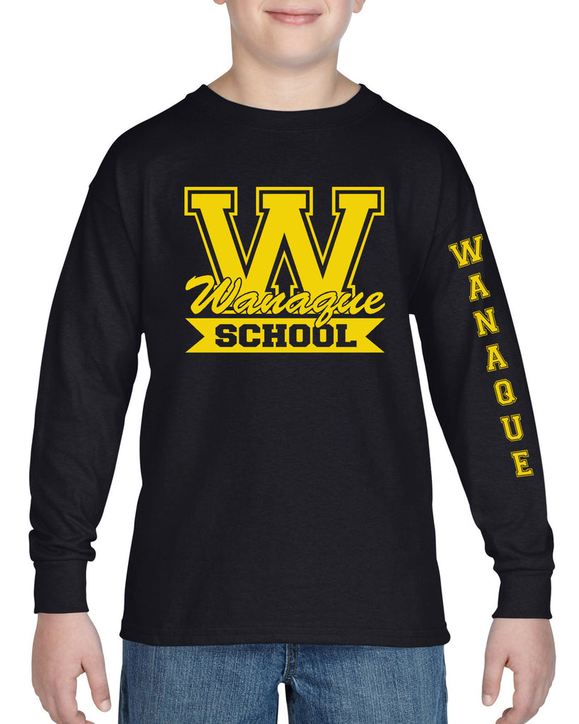 "WANAQUE School Heavy Cotton Black Long Sleeve ""FRICK"" Style #1 Tee"
