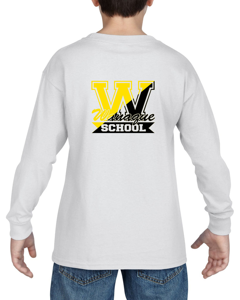 "WANAQUE School Heavy Cotton White Long Sleeve ""FRICK"" Style #3 Tee"