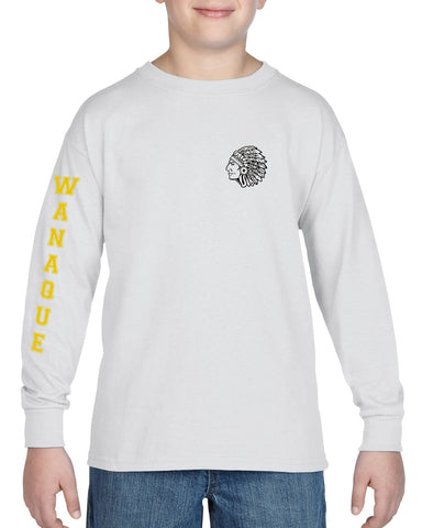 "WANAQUE Heavy Cotton Gold Long Sleeve Tee w/ WANAQUE School ""W"" Logo on Front."
