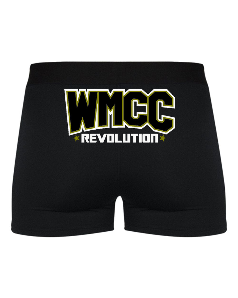 Copy of WMCC Black Pro-Compression Shorts - 2629 w/ Gold & White Print Logo on Rear.