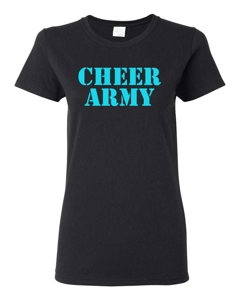 Cheer Army Black Short Sleeve Tee w/ Columbia Blue CHEER ARMY Stencil Logo on Front.