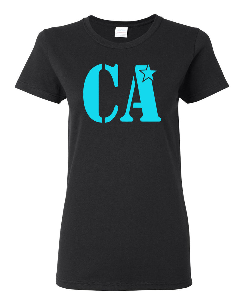 Cheer Army Black Short Sleeve Tee w/ Columbia Blue CA Logo on Front.