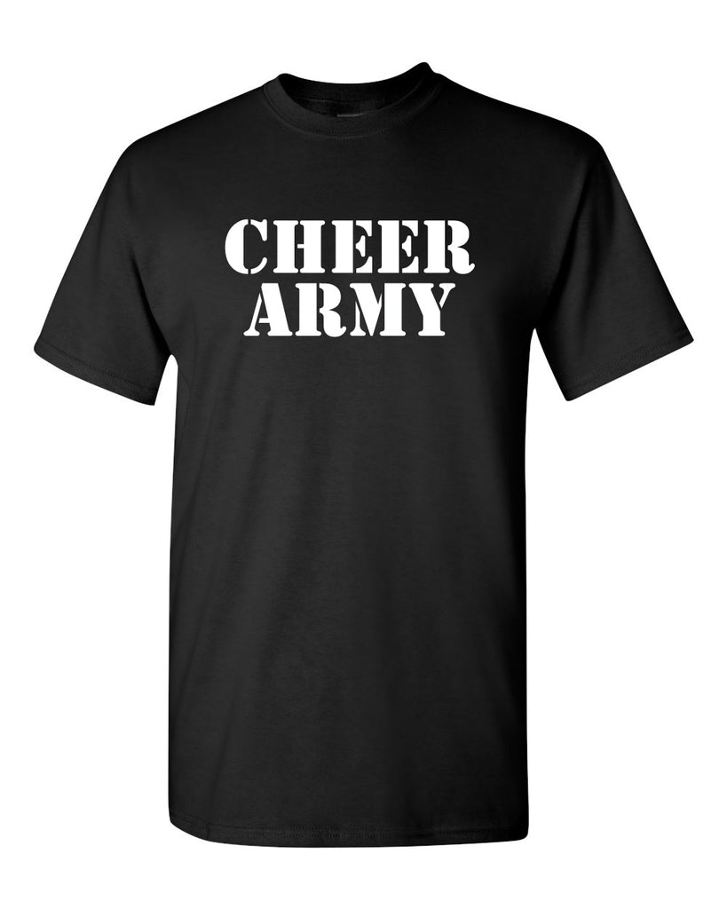 Cheer Army Black Short Sleeve Tee w/ White CHEER ARMY Stencil Logo on Front.