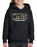 WMCC Black Hoodie w/ WMCC Logo in 3 Color Print (GLITTER) on Front.