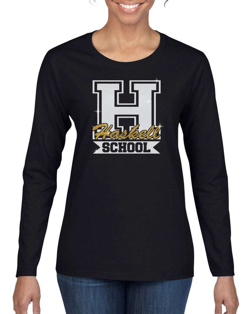 "HASKELL School Heavy Cotton Black Long Sleeve Tee w/ HASKELL School ""H"" Logo in GLITTER on Front."