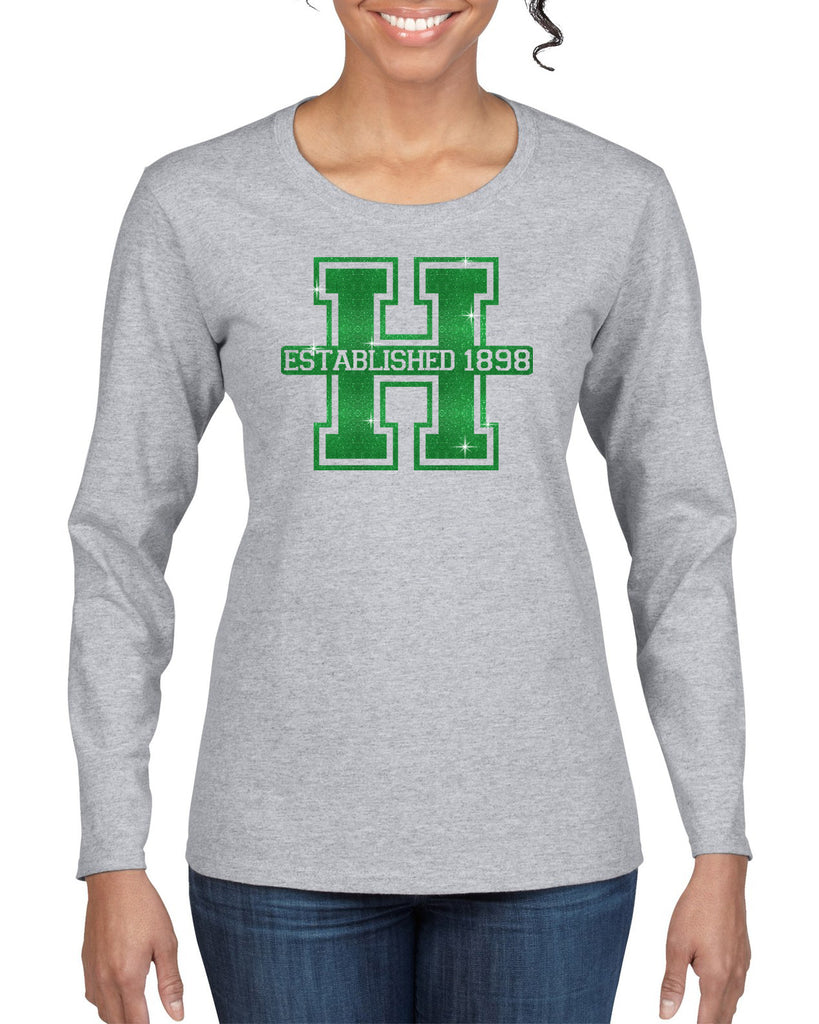 Hopatcong Long Sleeve Tee w/ Large Front Logo in GLITTER.