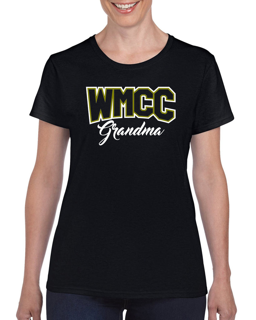 "WMCC Black Short Sleeve Tee w/ WMCC ""Grandma"" Logo on Front."