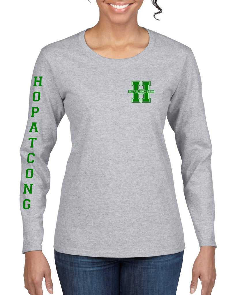 Hopatcong Long Sleeve Tee w/ Small Chest Logo & Hopatcong Down Sleeve Graphic Transfer Design Shirt