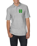 Hopatcong Polo Style Short Sleeve Tee w/ Small Chest Logo Graphic Transfer Design Shirt