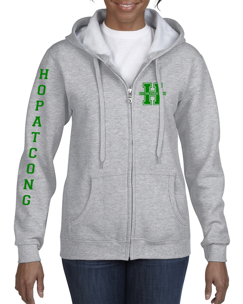 Hopatcong Hooded Full Zip-Up Sweatshirt w/ Small Chest Logo & Hopatcong Down Sleeve Graphic Transfer Design Sweatshirt