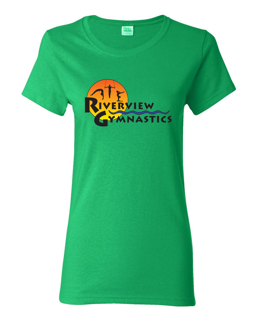 Riverview Gymnastics White Short Sleeve T-Shirt w/ Full Color Sun Design on Front.