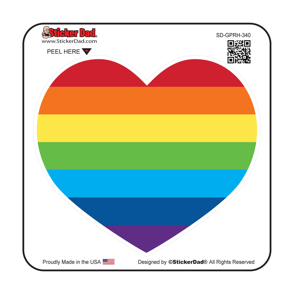 Gay Pride Rainbow Heart GPRH-340 Full Color Printed Decal