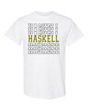 HASKELL School Heavy Cotton White Short Sleeve Tee w/ HASKELL Split Design on Front.