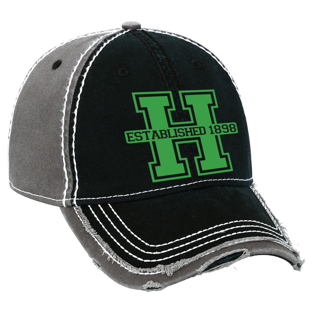 "Hopatcong Distressed Hat w/ Hopatcong ""H"" Logo Design on Front."