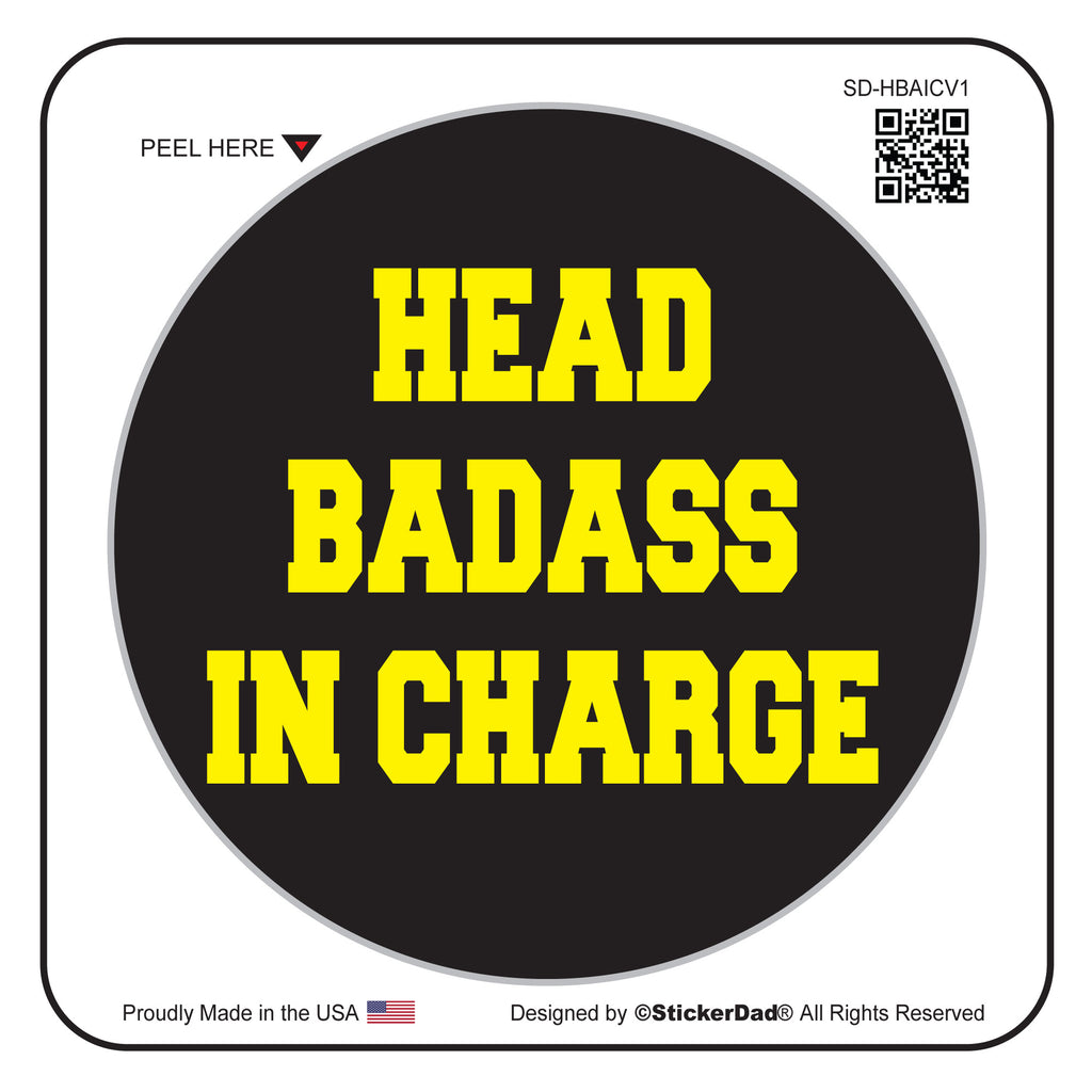 "HEAD BADASS IN CHARGE V1 Black/Yellow 2"" Round Hard Hat-Helmet Full Color Printed Decal"