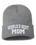 WORLD'S BEST MOM Embroidered Cuffed Beanie Hat