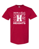 Oakland Heights School Red Short Sleeve Tee w/ Heights Doodle Design in White on Front.