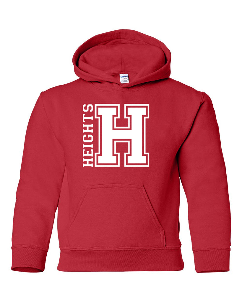 Heights Red Hoodie w/ Heights OG Design in White on Front.