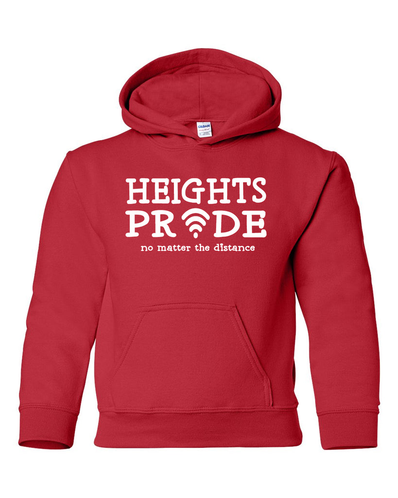 Heights Red Hoodie w/ Heights Pride Design in White on Front.
