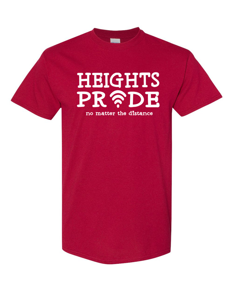 Heights Red Short Sleeve Tee w/ Heights Pride Design in White on Front.