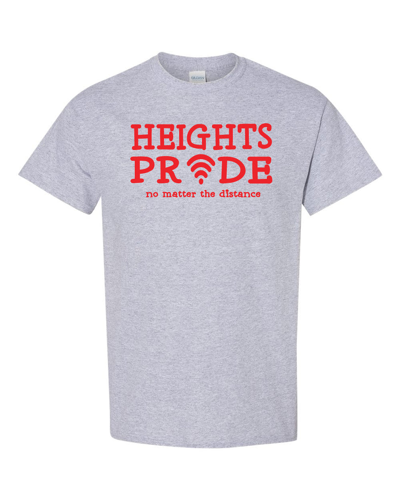Heights Sport Gray Short Sleeve Tee w/ Heights Pride Design in Red on Front.
