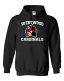Westwood Cardinals Black Heavy Blend Hooded Sweatshirt w/ Angry Bird Cardinal Design