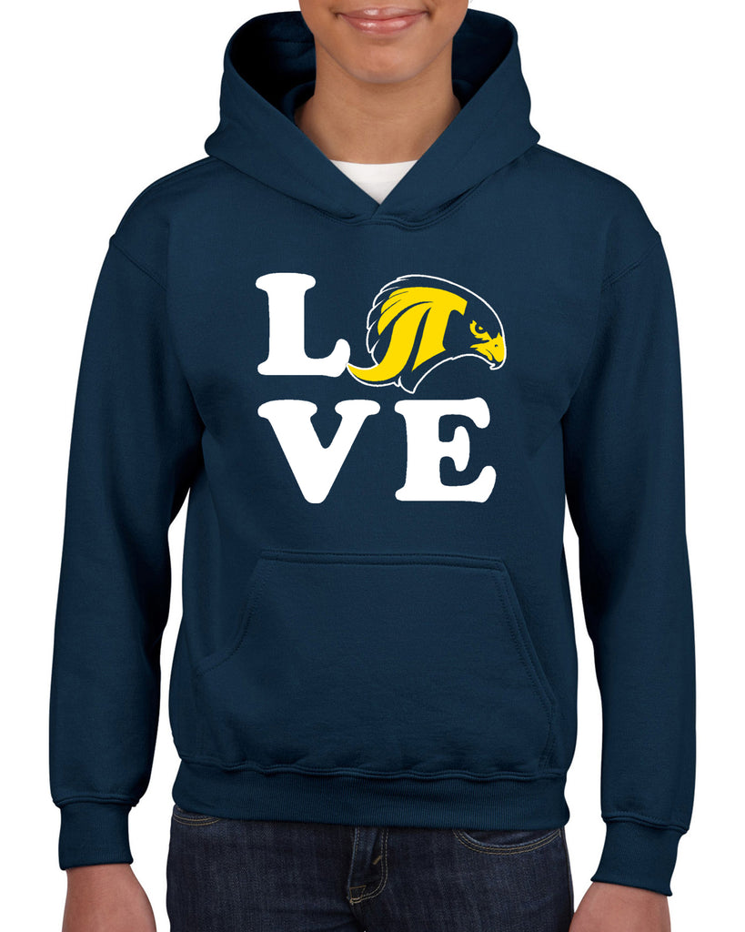 "JCPTA Navy Heavy Blend Hoodie w/ Large JCPTA ""Love"" Logo on Front."