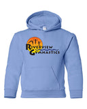 Riverview Gymnastics Carolina Blue Hoodie w/ Full Color Sun Design on Front.