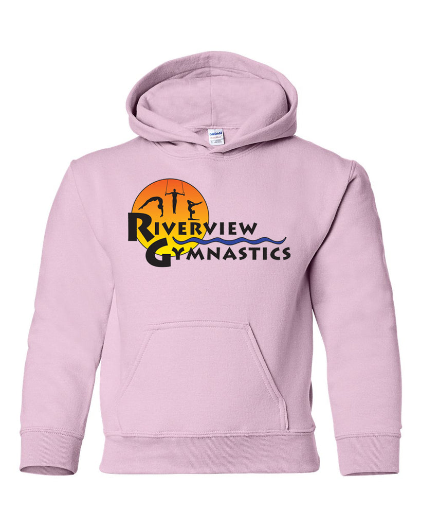 Riverview Gymnastics Light Pink Hoodie w/ Full Color Sun Design on Front.