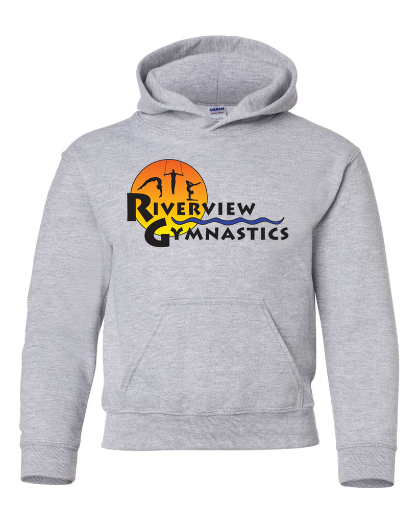 Riverview Gymnastics Sport Gray Hoodie w/ Full Color Sun Design on Front.