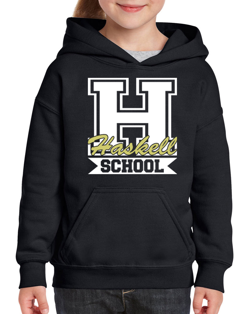"HASKELL School Black Heavy Blend Hoodie w/ HASKELL School ""H"" Logo on Front."