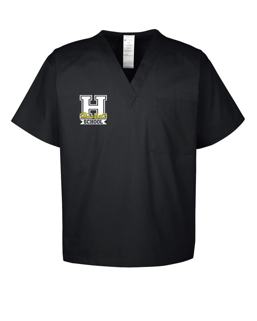 "HASKELL School Black Harriton Adult Restore 4.9 oz. Scrub Top w/ HASKELL School ""H"" Logo on Right Chest."