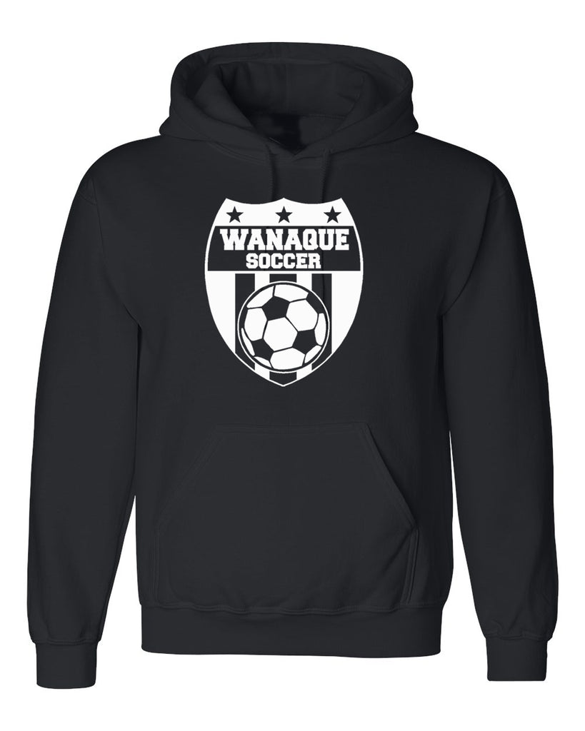 Wanaque Soccer Black Dry Blend Hoodie with Large Wanaque Soccer Logo on Front.