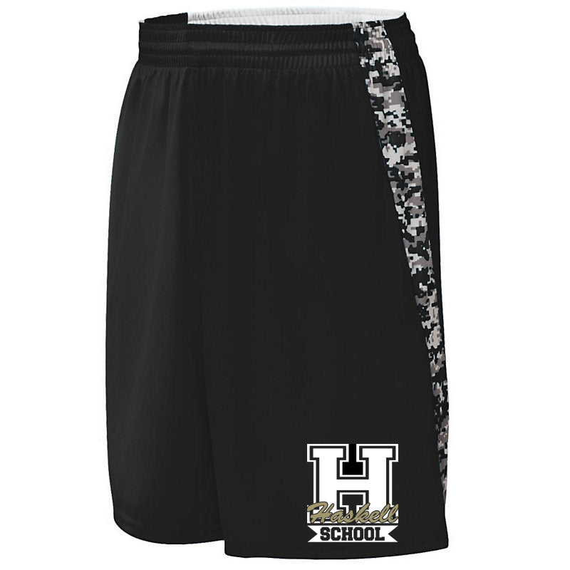 "HASKELL Black Hook Shot Reversible Shorts w/ HASKELL School 2 Color ""H"" Logo on Leg."