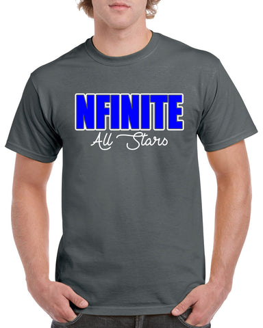 NFINITE White Short Sleeve Tee w/ NFINITE Impact 2 Color Logo on Front.