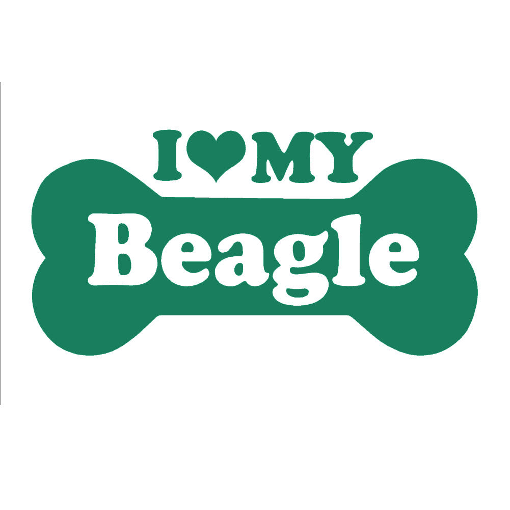 I Love My Beagle Bone Single Color Transfer Type Decal