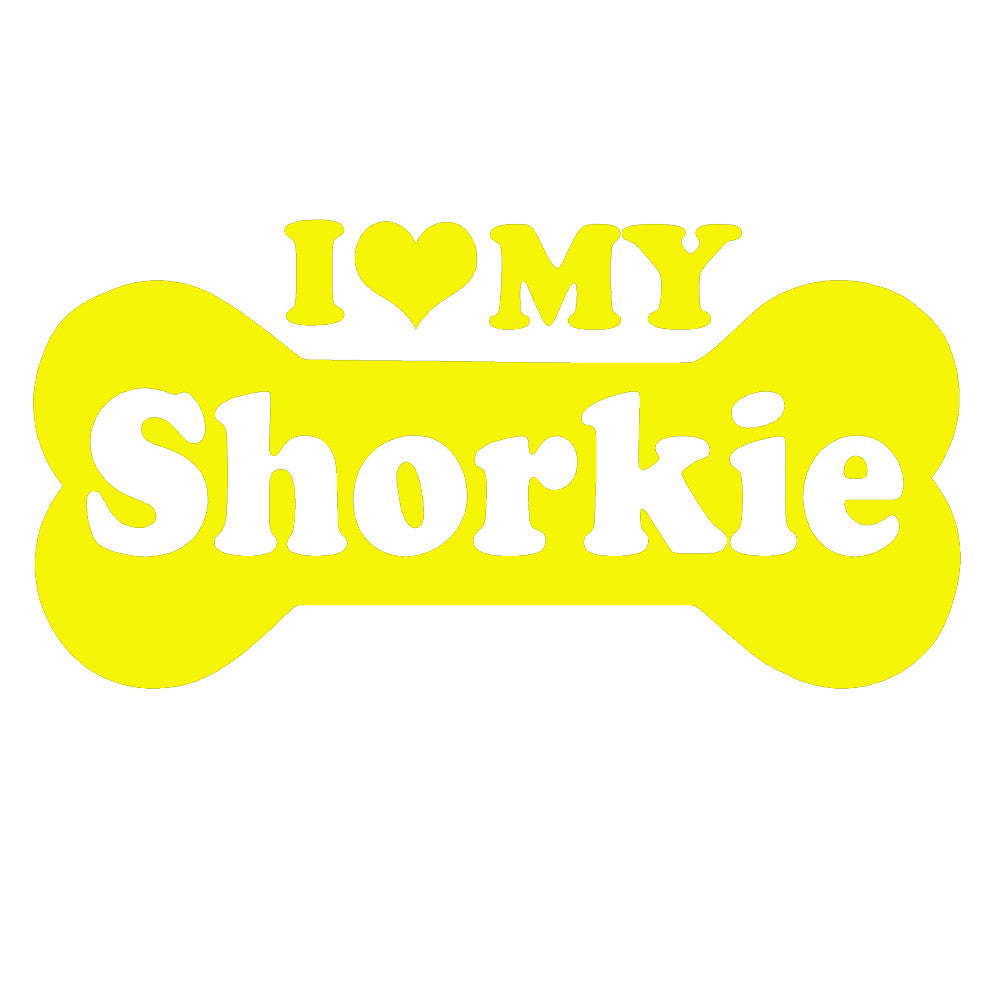 I Love My Shorkie Bone Single Color Transfer Type Decal