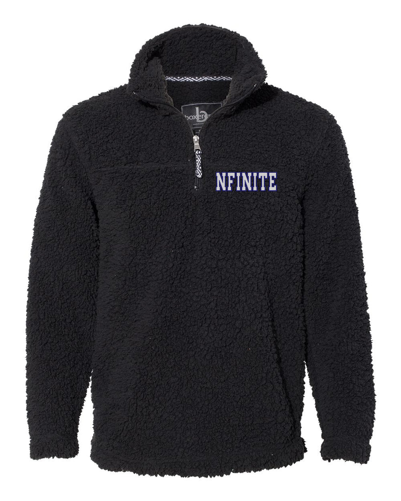 NFINITE JA Black - Sherpa Quarter-Zip Pullover - 8454 w/ NFINITE  2 Color Logo Embroidered on Left Chest