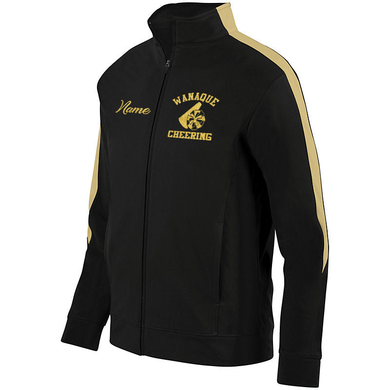 WANAQUE Cheer Black & Vegas Gold Medalist Jacket 2.0 w/ Logo & Name in Gold GLITTER on front