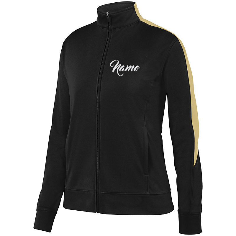 WMCC Black & Vegas Gold Medalist Jacket 2.0 w/ WMCC Logo in 3 Color SPANGLE on Back.